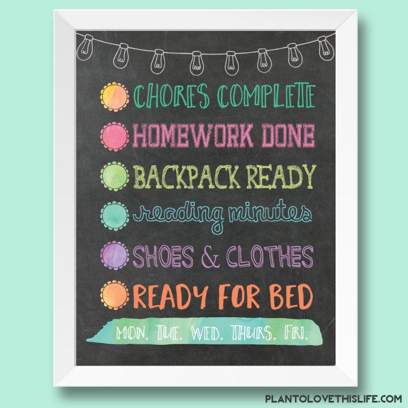 Child's Night Checklist