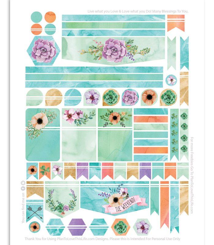 Happy Planner Watercolor Flower Dream Stickers Printable