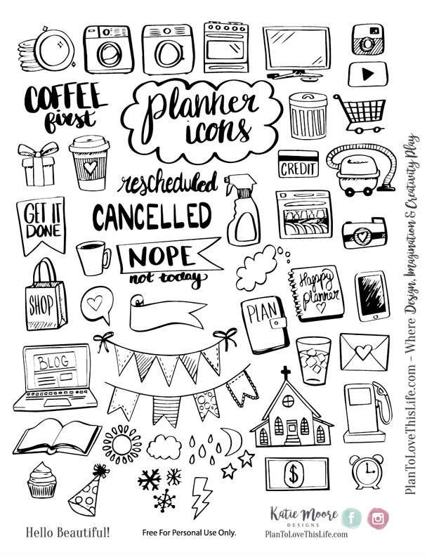 picture about Hand Printable named Hand Drawn Planner Icon Printable Established