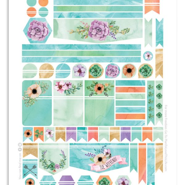 Happy Planner Watercolor Flower Dream Stickers Printable